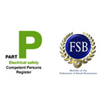 Green and black electrical safety logo next to the Blue and gold FSB logo