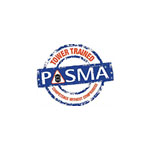 PASMA Logo: blue circle with red text running through and a blue block in the middle with PASMA written on