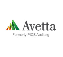 avetta logo grey text with a red, light green, dark green icon to the left