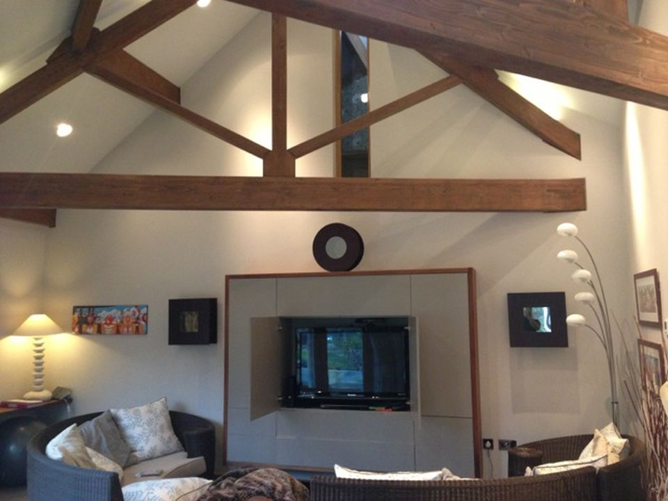 Stable cottage wickwar living room with wooden beams 2