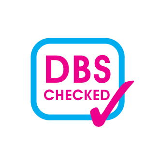 DBS checked logo with pink text surrounded by a blue square with rounded edges
